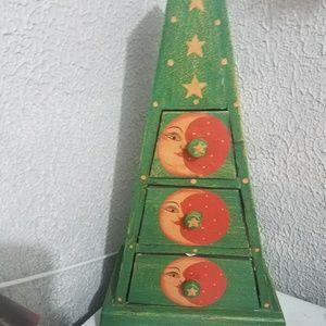 Vintage 3 cubby jewelry box